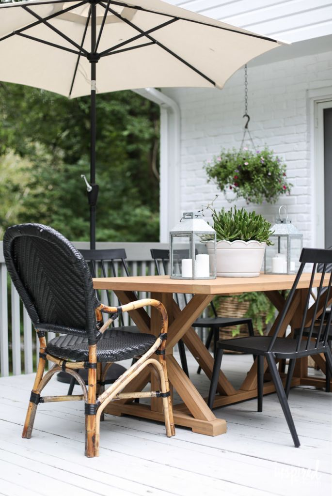 Modern Country Colonial Deck Styling Tips And Inspiration Outdoor Deck Decor Outdoor Deck Decorating Modern Outdoor Dining Midcentury Modern Dining Chairs