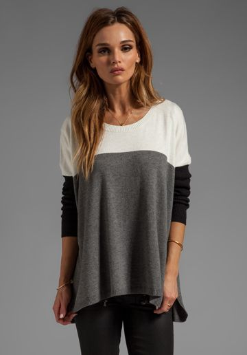 CENTRAL PARK WEST Barrington Boxy Sweater in Ivory - Sweaters & Knits