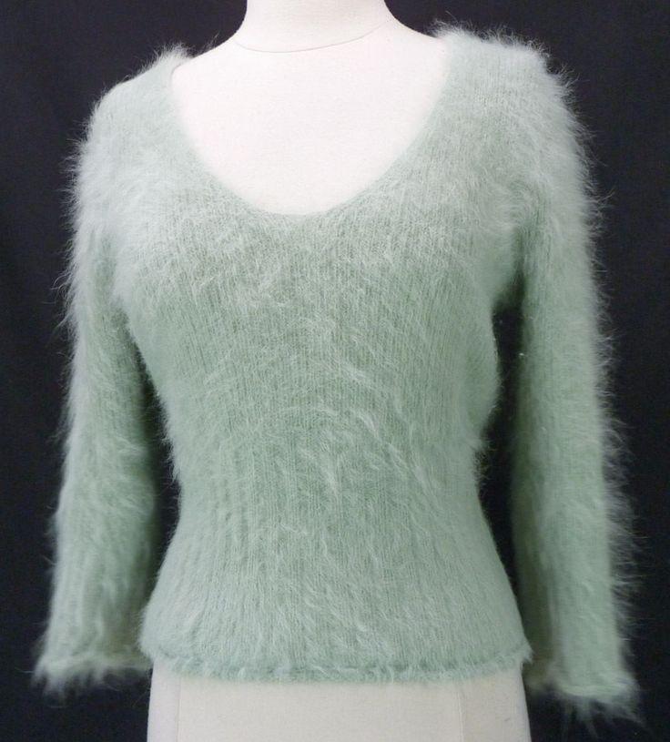 EXPRESS Light Green SUPER Fuzzy Furry 80% ANGORA Scoop Neck Sweater L #Express #Sexy