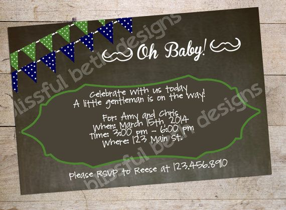 PERSONALIZED MUSTACHE INVITATION Mustache by BlissfulBethDesigns