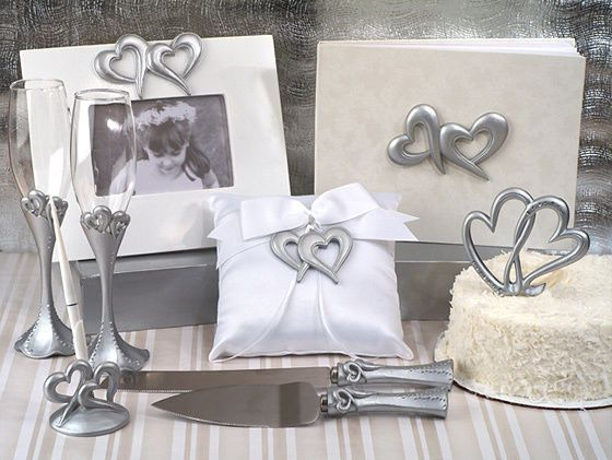 Silver Two Hearts Guest Book Cake Topper Ring Pillow Wedding Accessory Set