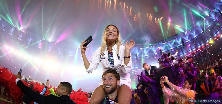 Morghan King and Seth Weil, Weightlifting and Rowing:    Morghan King and Seth Weil celebrate at the Closing Ceremony of the Rio 2016 Olympic Games at Maracana Stadium on Aug. 21, 2016 in Rio de Janeiro.