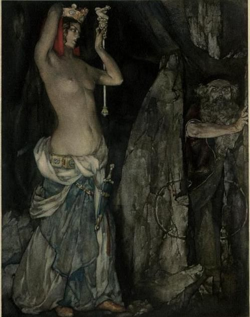 """lovers"" william russell flint      ""Lovers""        "" Illustration for  Le morte D'arthur  ""   by  William Russell Flint    A book about King Arthur and of his noble knights of the Roundtable     Thank you  Madamefrivole for this wonderful image.      fuck yes avenging sorceress! you seal merlin up in that cave!"