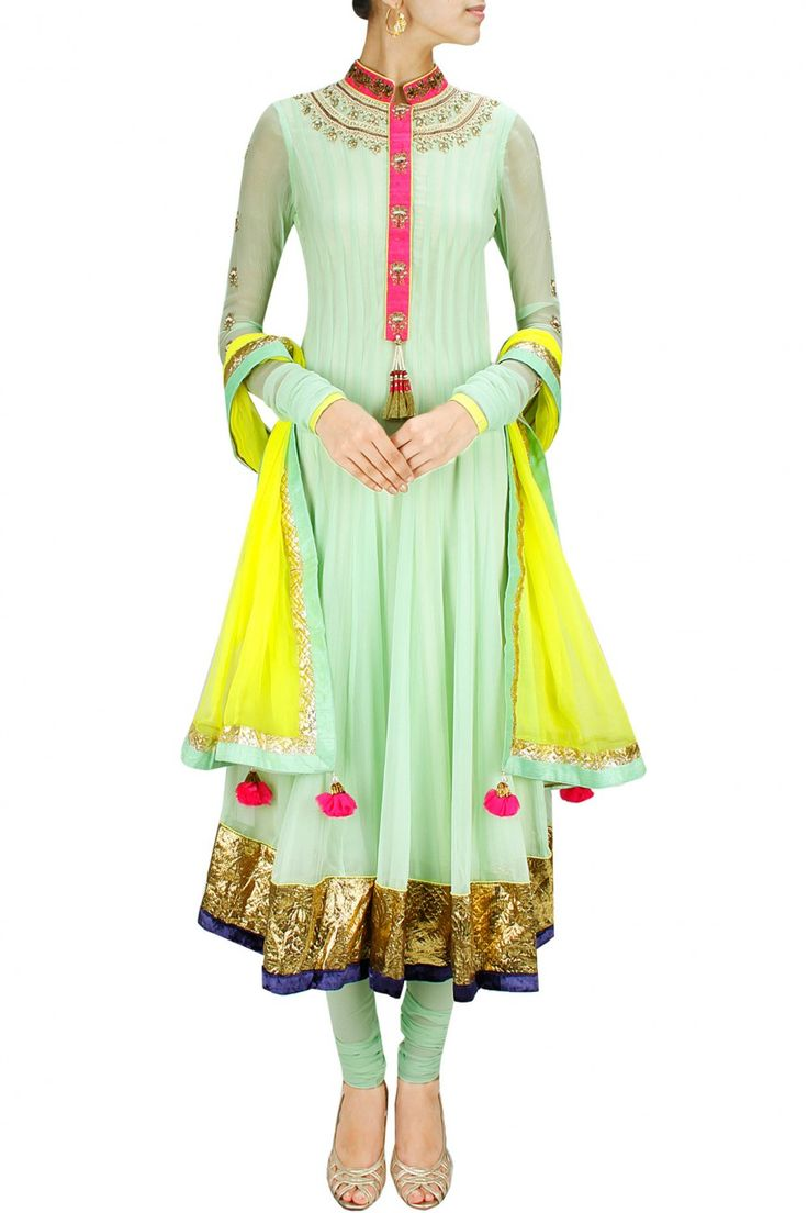 Sea green and yellow pearl embroidered anarkali set by Yashodhara.