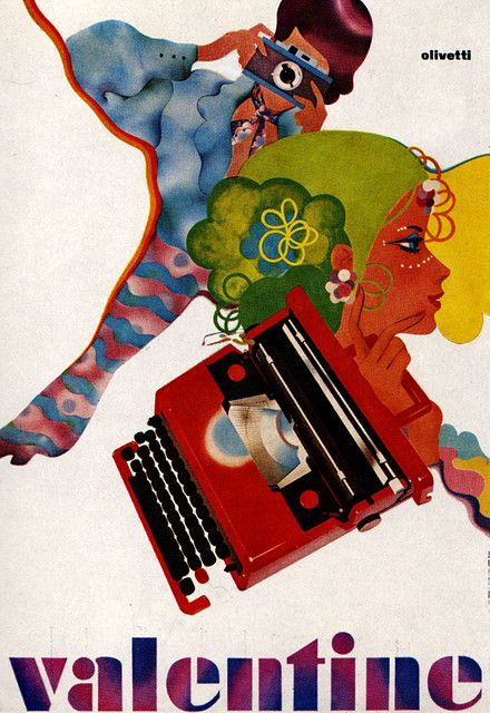 Ettore Sottsass and Perry King's VALENTINE typewriter: olivetti valentine poster