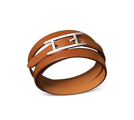 Hermes Hapi 3 MM leather bracelet (size MM). Natural tadelakt calfskin, Palladium plated hardware. $320
