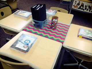 I've always had my student desks in groups of 4 or 5. I really love this arrangement because we do a lot of small group and partner work and this lends itself well to that. Having fewer students this year allows me to keep an extra desk in the middle of each group for storage. I bought some clearance fabric in a cute pattern to dress it up a bit!