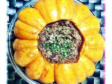 Imagem da receita Abóbora moranga recheada com carne seca feita no micro-ondas