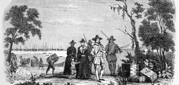 Winthrop Fleet Arabella   John Winthrop arriving in Massachusetts Bay Colony)