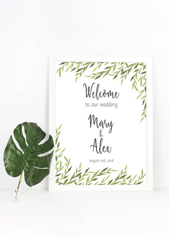 Printable wedding sign - Welcome the wedding of - with watercolor greenery design by Amistyle Digital Art on Etsy