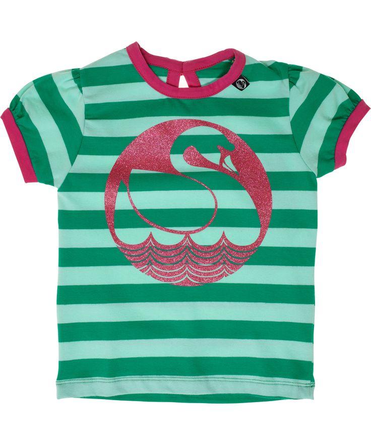 Danefæ charmant muntgroene t-shirt met glitterende zwaan. danefae.nl.emilea.be