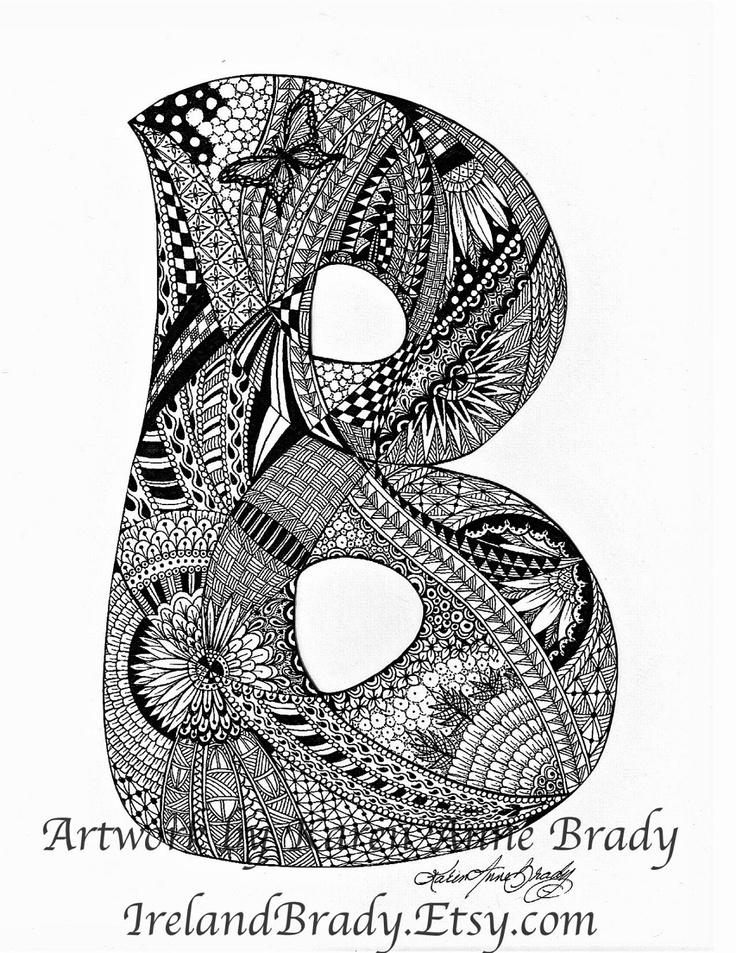 ACEO Alphabet Letter B zentangle doodle initial monogram ...