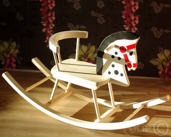 Wooden Handmade Rocking Horse Children Rocking by GreenWoodLT