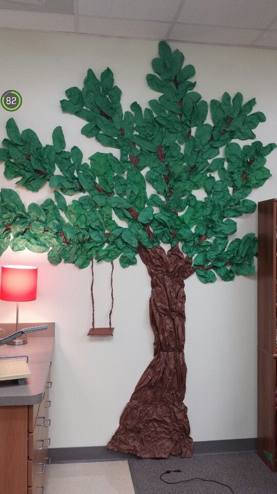 Made this textured tree with swing for a teacher's wall in her classroom.   So many options throughout the year.