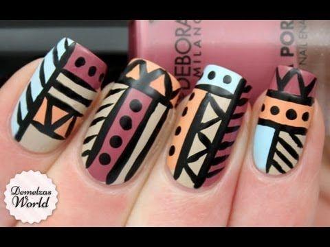 Aztec Tribal nails for Deborah Milano - http://www.nailtech6.com/aztec-tribal-nails-for-deborah-milano/