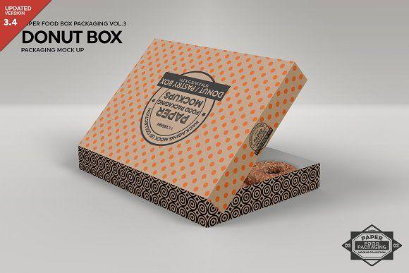Download Donut Box Packaging Mockup | Donut box, Design mockup free ...