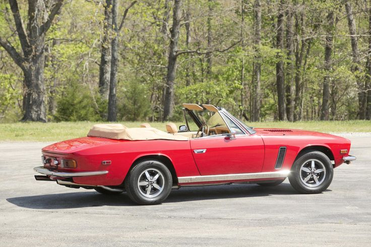 """#45. This 1974 Jensen Interceptor III convertible was one of less than 300 built, all told, and featured the oh-so-rare triple-carburetor 7.2L & Torqueflite A727 automatic powertrain. The scarlet-over-tan-&-tan canvas-topped survivor brought $53.9k USD at a New England auction in the Spring of 2015. (And let's face it, I'm down with *any* series II or III, be it """"saloon"""" or """"drophead coupe""""!)"""