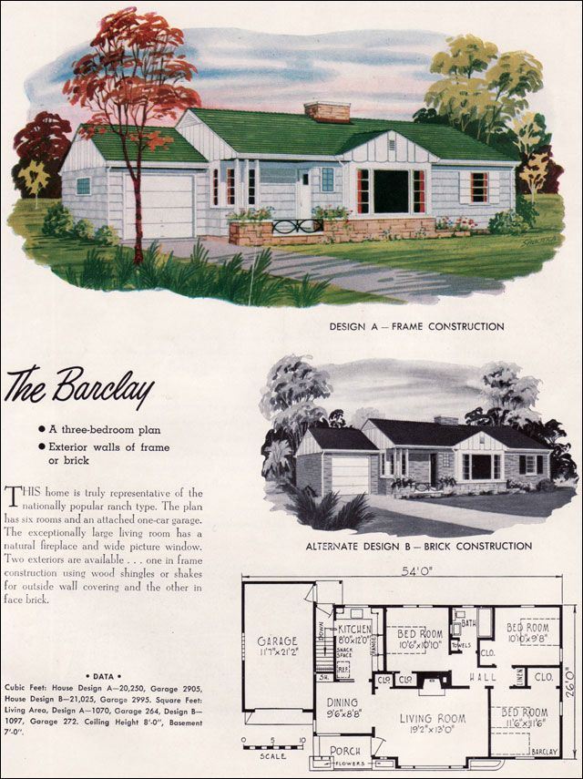 Mid century modern house plans 1952 national plan for Mid century ranch home plans