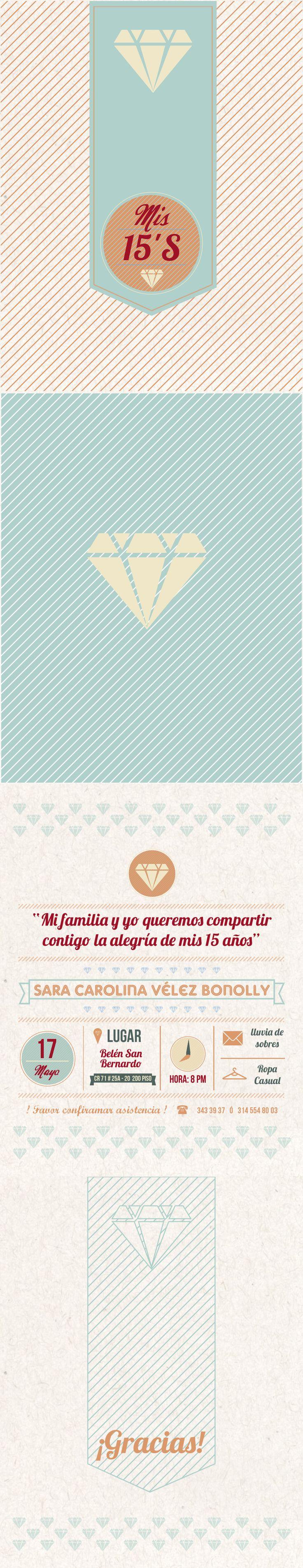 Tarjeta de invitación de cumpleaños 15's para Sara Carolina Vélez Birthday Invitation card