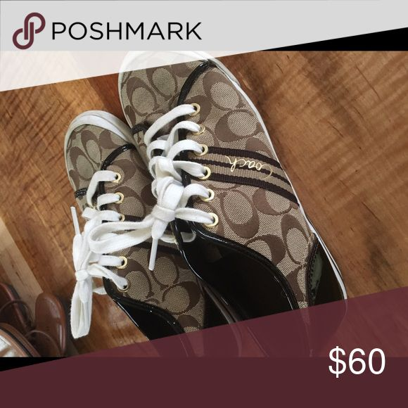 Coach tennis shoes Coach tennis shoes with white brown and gold Coach Shoes Sneakers