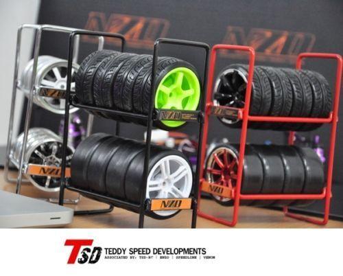 NZO RC Drift Car Tire Rack 1/10 Wheel Rims & Drift Tire