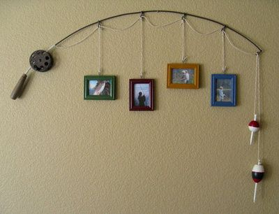 IF you happen to have an old fishing pole that's no longer useful for catching fish, you could simply repurpose it as wall decor, a la this item via DabbledDetails on Etsy. Now if you're really a fan of nautical things, fishing pole wall decor could be paired with an old boat turned into a couch or a boat suspended from the ceiling (for use as a bed or daybed?). Or maybe not. :)