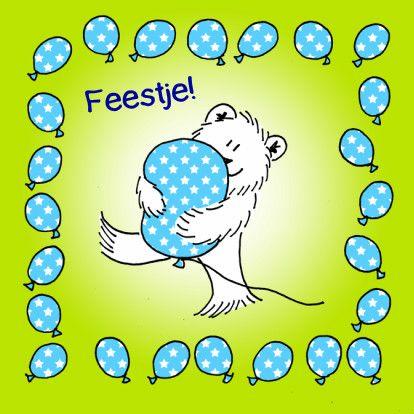 Uitnodigingskaart voor een kinderfeestje. Bestel 'm op kaartje2go!