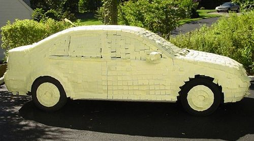 Unusual Post It Notes | funny-car-post-it-notes-prank-joke