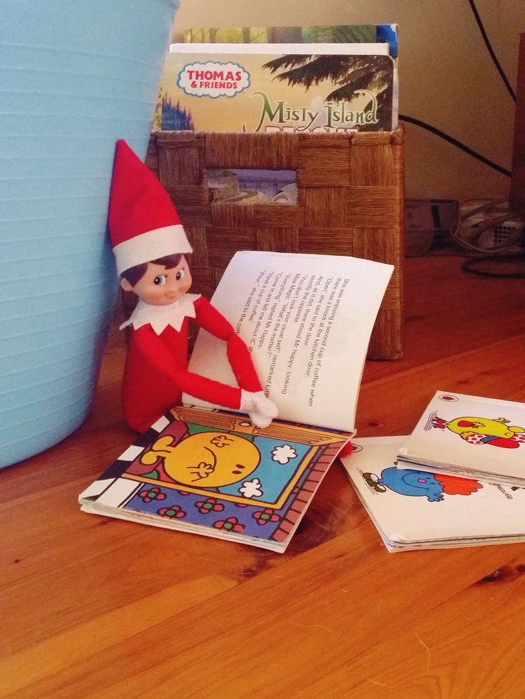 Elf on the shelf. Jingle loves reading Mr Men and Little Miss Books
