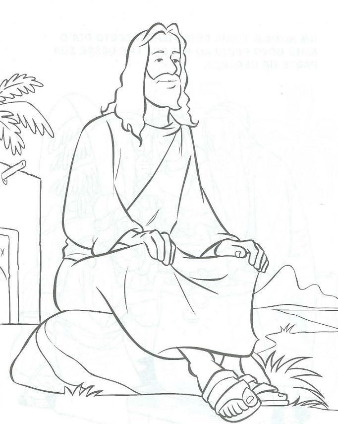 jesus sitting on a rock