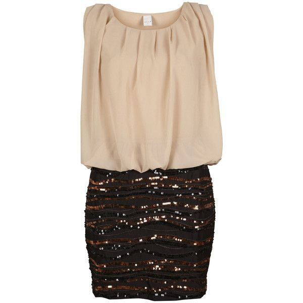 Vila Went Dress / Ms (€59) ❤ liked on Polyvore featuring dresses, vestidos, robe, vestiti, cream powder, cream sequin dress, loose fit dress, sequin cocktail dresses, cream pleated dress and thin dress