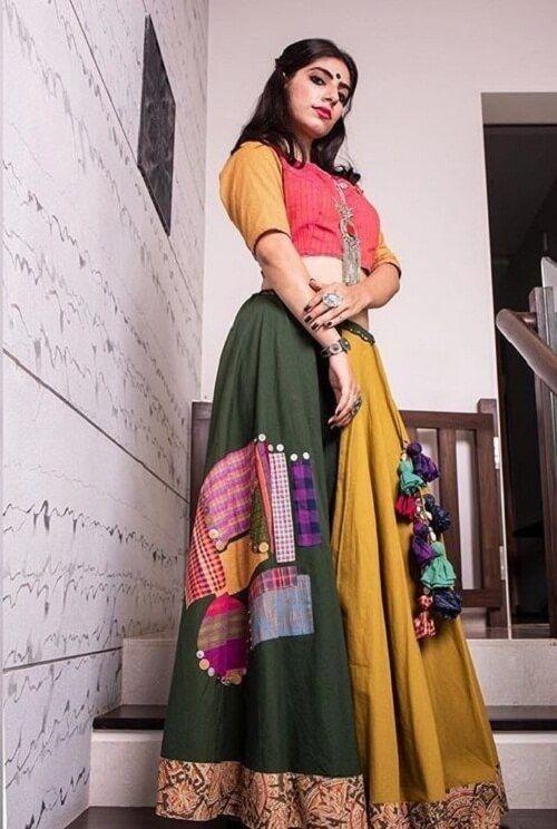 17d12c3ede9649 Yellow And Olive Patch Work Chaniya Choli For Navratri #Chaniyacholi  #trendy #traditional #navratrispecial