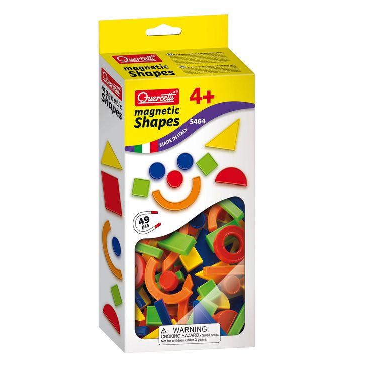 Quercetti set van 48 kleurrijke magneetvormen om te gebruiken op het magnetische bord van Quercetti of een ander oppervlak in metaal. Geschikt voor kinderen vanaf 4 jaar.