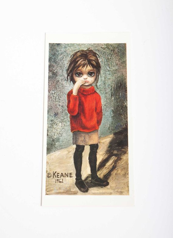 """Big Eyes - Walter Keane - """"Lonely"""" Postcard - Signed by The Infamous Walter Keane - 1960's"""