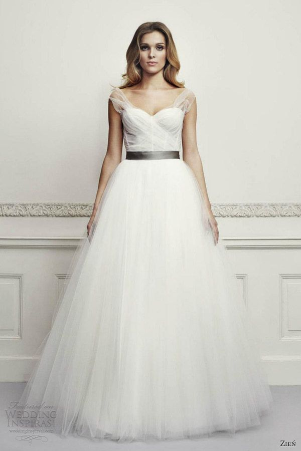 beautiful! must have a spakly belt instead though! (zien wedding dresses 2013 ball gown straps illusion)