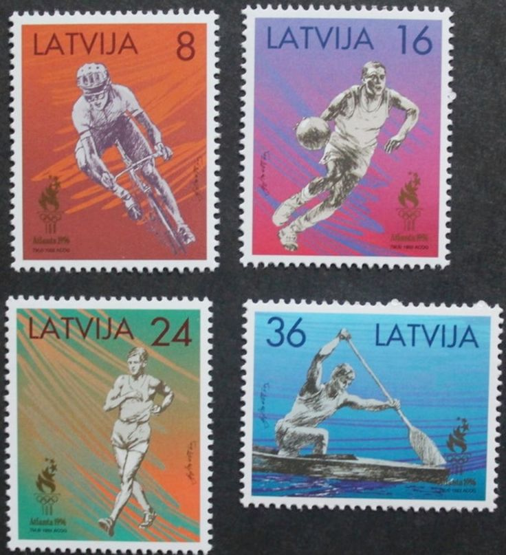 Latvia, Olympic games Atlanta stamps, Cycling, Basketbal 1996, Ref: 445-448, MNH