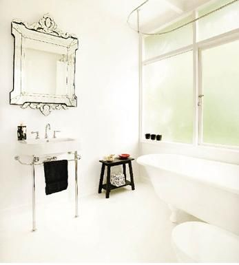venetian mirror in modern white bathroom: Bathroom Bathroom, Venetian Mirror, Bathroom Makeovers, Modern White Bathroom, Small Bathroom, Beautiful Bathroom, Glasses Mirror, Bathroom Decor, Old Mirror