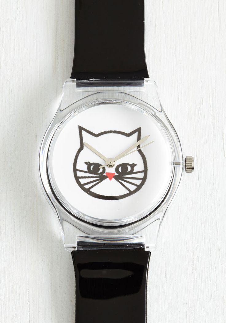 Paw the Time in the World Watch. Watching time tick by is a captivating affair thanks to this ModCloth-exclusive cat watch!  #modcloth