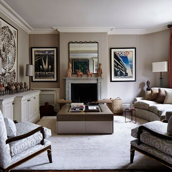 Elegant Grey And Taupe Living Room