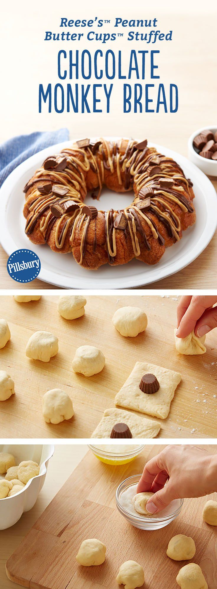 Yes, we stuffed our monkey bread with Reese's™ Peanut Butter Cups™  for a crazy-good breakfast (or dessert!) that is a total game-changer. Expert tip: For success in this recipe, use Reese's™ Peanut Butter Cups™ minis that are already unwrapped, rather than the Reese's™ Peanut Butter Cups™ miniatures that come wrapped, which are a little larger.