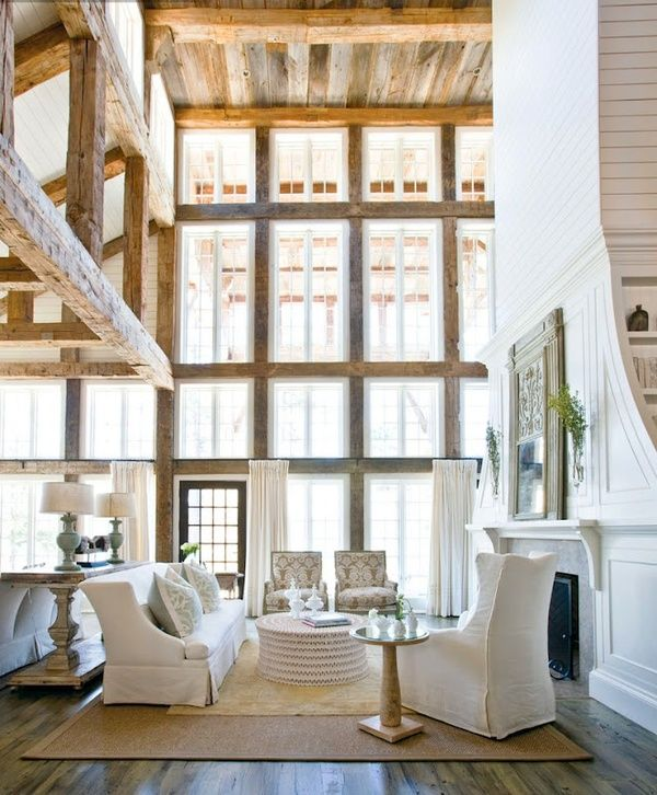 The most magnificent space. Window wall, rustic meets white. Breathtaking!: Spaces, Idea, Living Rooms, Window, Dreams, Interiors, High Ceilings, House, Woods Beams