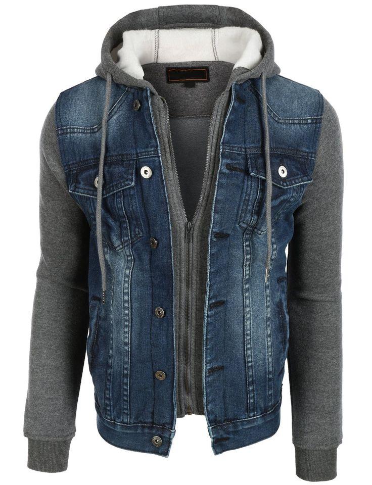 OLLIN1 Mens Vintage Long Sleeve Denim Jean Jacket with Fleece Hoodie