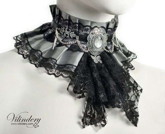 Silver gray fabric collar with a jabot and a butterfly, Ice queen choker necklace, Victorian fantasy jewelry, butterfly neck corset