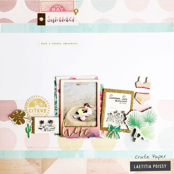 Beautiful #scrapbook layout made with Oasis Crate Paper items, such as scrapbook paper, ephemera embellishments and gold foil stickers. We just love it!