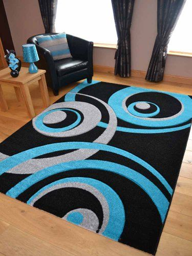Vibe Modern Black Teal And Silver Circle Design Quality
