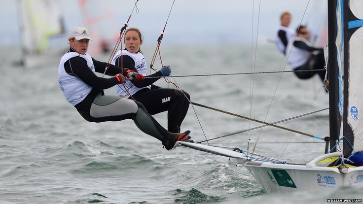 Olivia Price and James Sly of Australia compete in the 49er FX class at the Isaf Sailing World Cup event in Melbourne.
