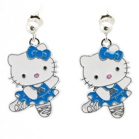 Hello Kitty Earrings, Earrings for Girl, Blue Hello Kitty Earrings, Dangle Earrings, Silver Earrings for Girl, Ready to Ship, Ready for Gift by modotikon on Etsy