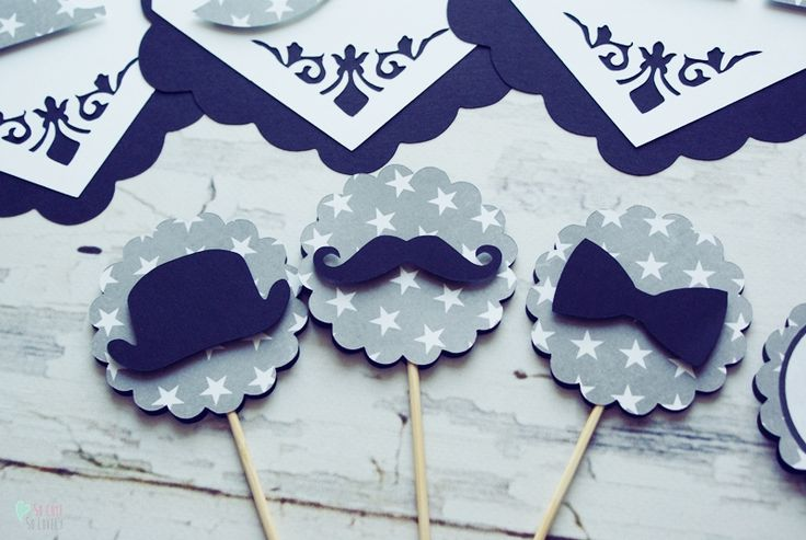 #birthday #party #toppers #cupcake #muffin #sweet #handmade #kids #boy #cricut #explore #craft #home #decor  #black #white #mustache