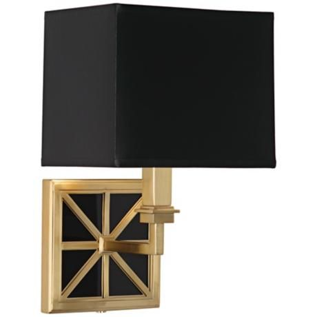 "Mary McDonald Directoire Black 13 3/4"" High Brass Wall Lamp"