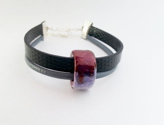 Grey black leather thong bracelet with purple by MKedraHandmade